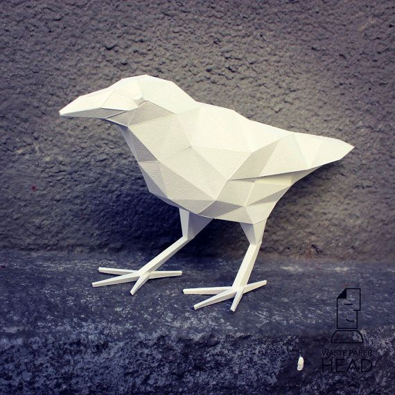You can make your own raven for home decoration!  Printable DIY template (PDF) contains 4 pages. Use 160-240 g/m2 colored paper. Sizes of the raven - 20х35х12 cm (A4) or 28х50х17 cm (A3). I would rather recommend using A3. If you need another size of finished sculpture, just change print scale and size of paper.  Attention! The counterweight should be placed in the beak to the figure standing on the feet!  Check out our tutorials on youtube.com/channel/UCTO0rWB3sQv161fWv0yG79Q....