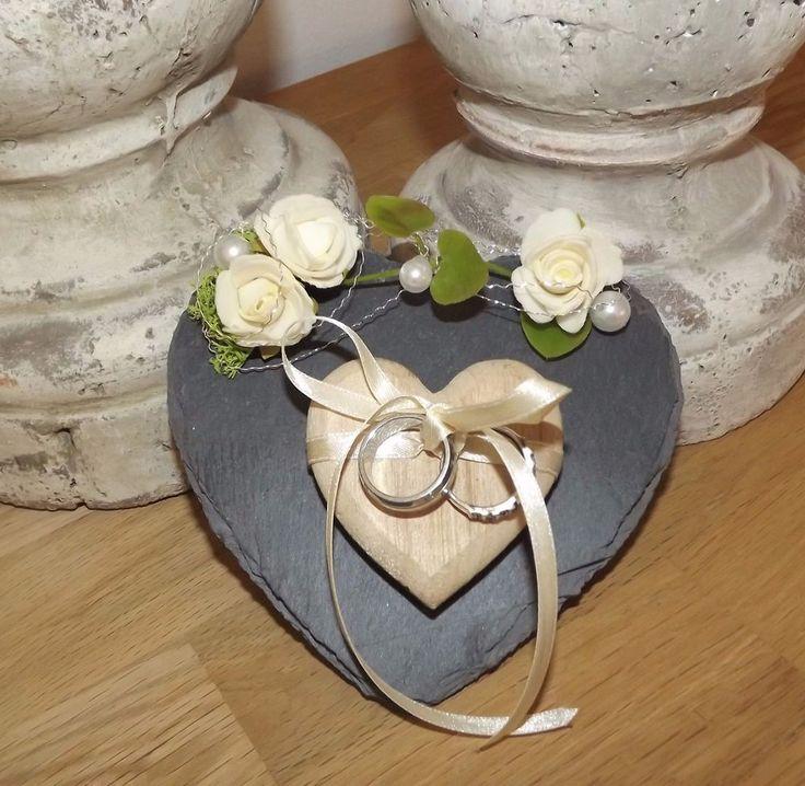 Ringkissen Ringhalter Schieferherz mit kleinem Holzherz für Eheringe Hochzeit