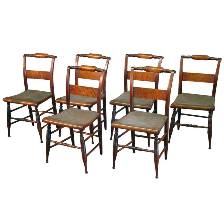 Set Of 6 Tiger Maple Chairs Set Of Chairs And Tigers