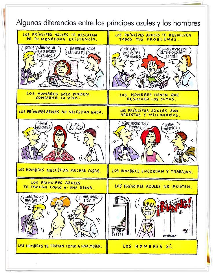 Diferencias entre los príncipes azules y los hombres. #Maitena #Humor