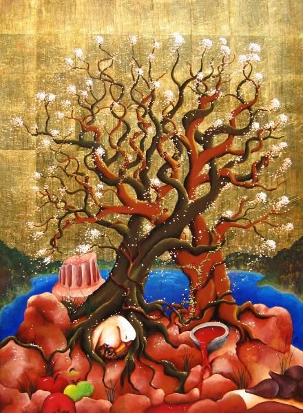 """Baucis and Philemon was the mythological inspiration for """"The Pinecone Legend"""".  In this story, a couple known for their hospitality eventually passes on, only to become two beautifully intertangled trees that offer shade and rest to travelers."""