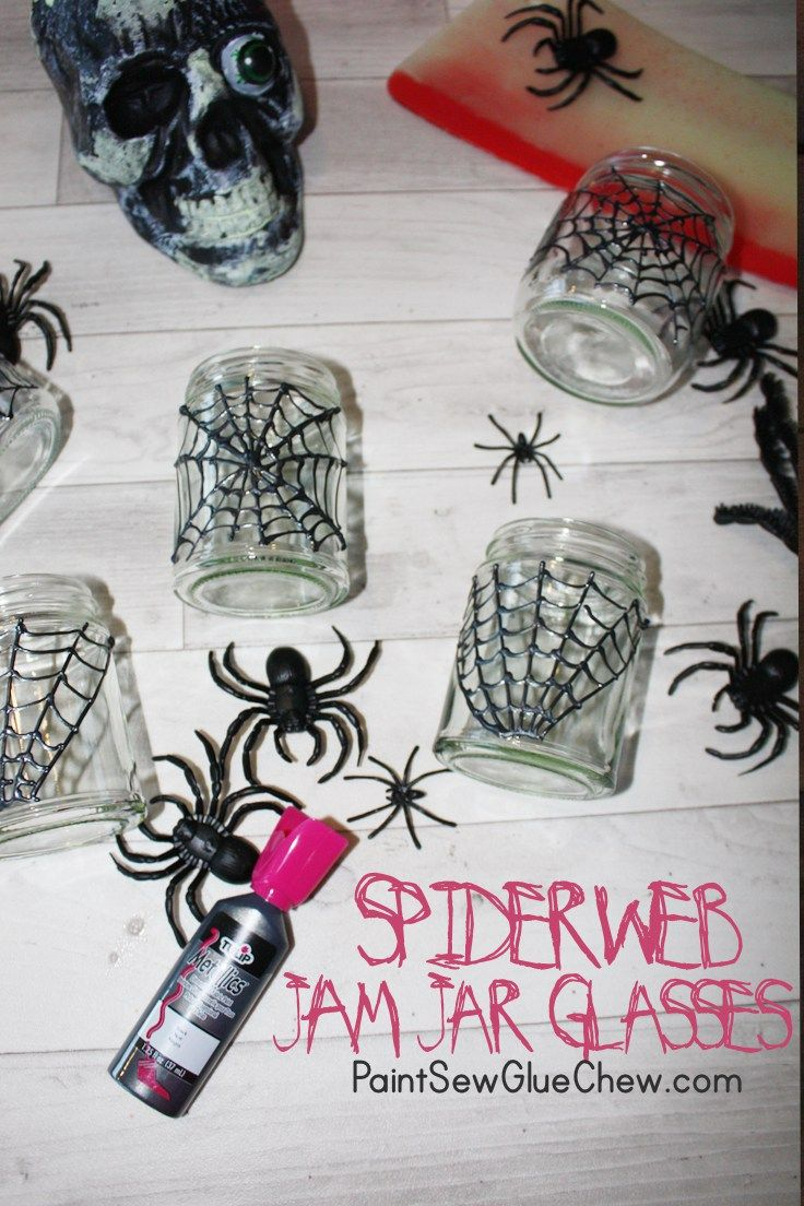 Halloween Spider Web Jam Jar Glasses. Use mason jars or Jam jars for this fab recycled easy craft.
