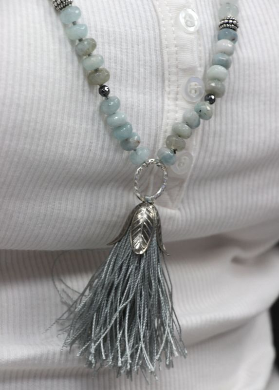 Tassel Long necklace with tassel Dlugi naszyjnik z chwostem akwamaryn/aquamarine