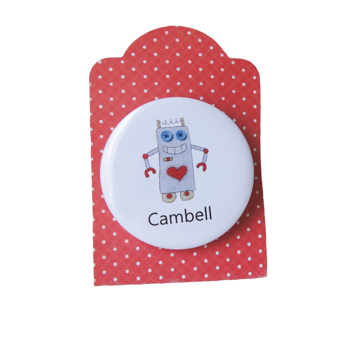 robot badge - personalised with any childs name http://ooakly.blogspot.com.au/