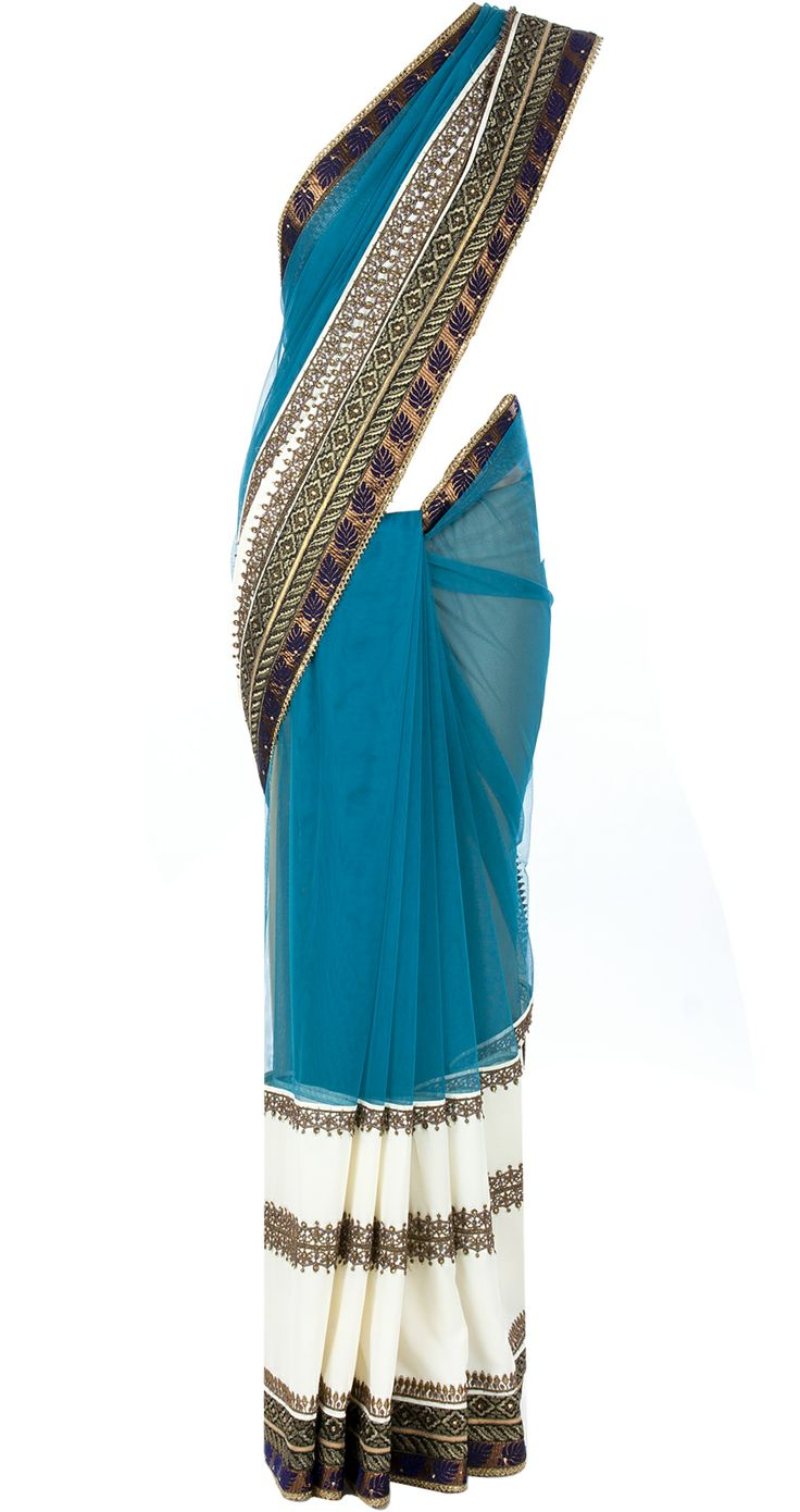 Blue and ivory net and georgette saree