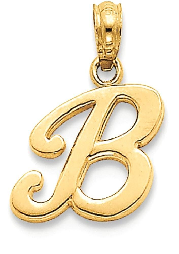 14k Yellow Gold F Script Initial Monogram Name Letter Pendant Charm Necklace Fine Jewelry Gifts For Women For Her