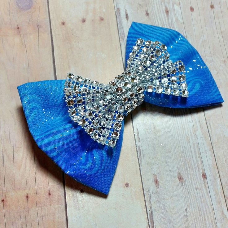 Fabric Hair Bow/Bow tie, Blue Sparkly Hair Bow, Wedding Accessory, Glitter Fabric hair Bow, Boy Bow ties, Pageant, Cheer, Bridal by CzechOutMyBows on Etsy