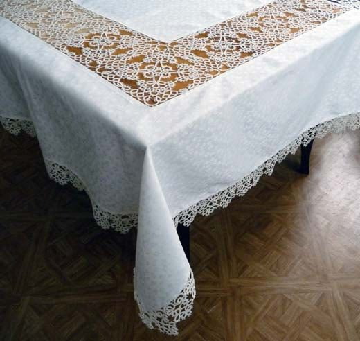 Handmade large tablecloth and 12 napkins with lace tatting ivory