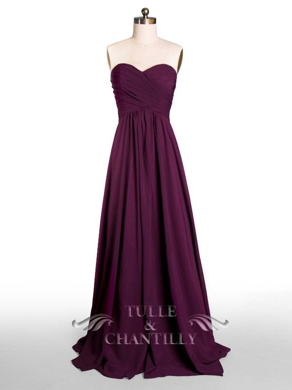 Floor Length A-line Aubergine Dark Purple Bridesmaid Gown