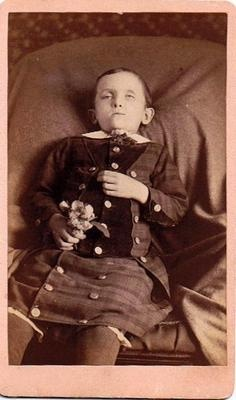CDV Post Mortem Cabinet Card Photo Galva IL Young Boy Who Drowned Age 8