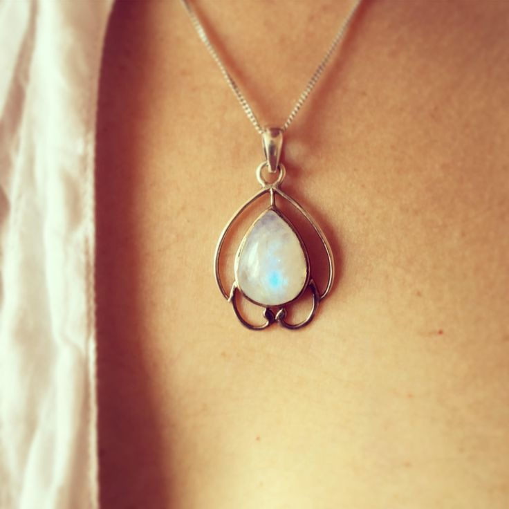 Moon stone silver necklace by Mana jewelry by MANAByGekova on Etsy