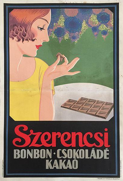 szerencsi chocolate bonbons cocoa vintage poster art deco / Szerencsi bonbon csokoládé kakaó 1924-34