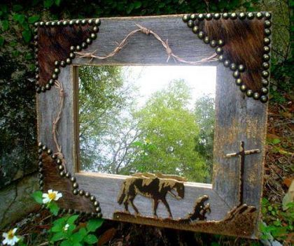 PRAYING COWBOY WOOD 8X10 MIRROR 14X16 FRAME | Western Decor by Signature Cowboy