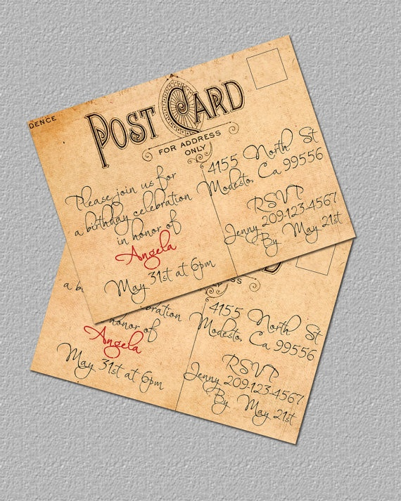 Printable Vintage Postcard Invitation Bridal by TheRedStarDesigns, $12.00  A maybe for my 30th