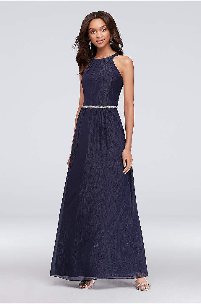 Metallic Chiffon Halter Dress with Beaded Belt - This chiffon halter dress  makes a beautiful first adcf9e276
