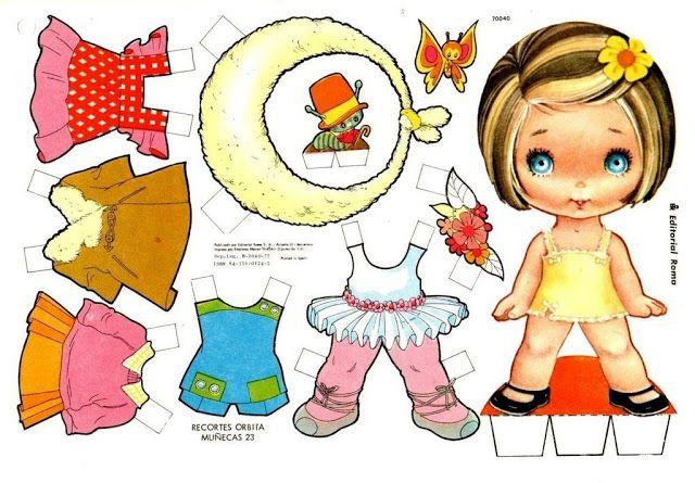 paper doll muneca recortables | Recortables Muñecas | Manualidades a Raudales