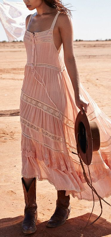 Pretty Blush color complimented perfectly by the textures and colors of the hat and boots  Boho Style