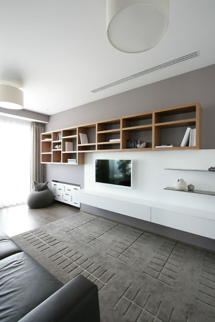 Apartments:Glowing White Interior Design Ideas With Black Sofa Modern Pendant Lamps Also Wooden Shelves Also Slim Television With Modern Tv Stand Also Large Windows Curtains For Modern Apartment Living Room Ideas Glowing white Interior Design Ideas for Modern Apartment Living Room Ideas