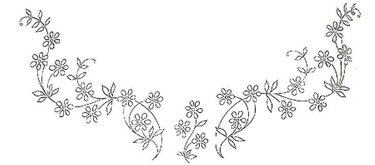 Neck embroidery pattern..... This site has many many beautiful edging & corner patterns for embroidery !