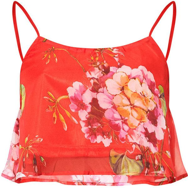 Red Floral Print Soft Cami Crop Top ($40) ❤ liked on Polyvore featuring tops, red cami, red crop top, floral crop top, cropped tops and camisole crop top