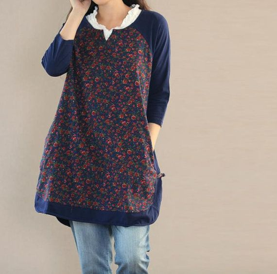 Lovely Cotton shirt round Collar pullover Long shirt Cotton long T shirts