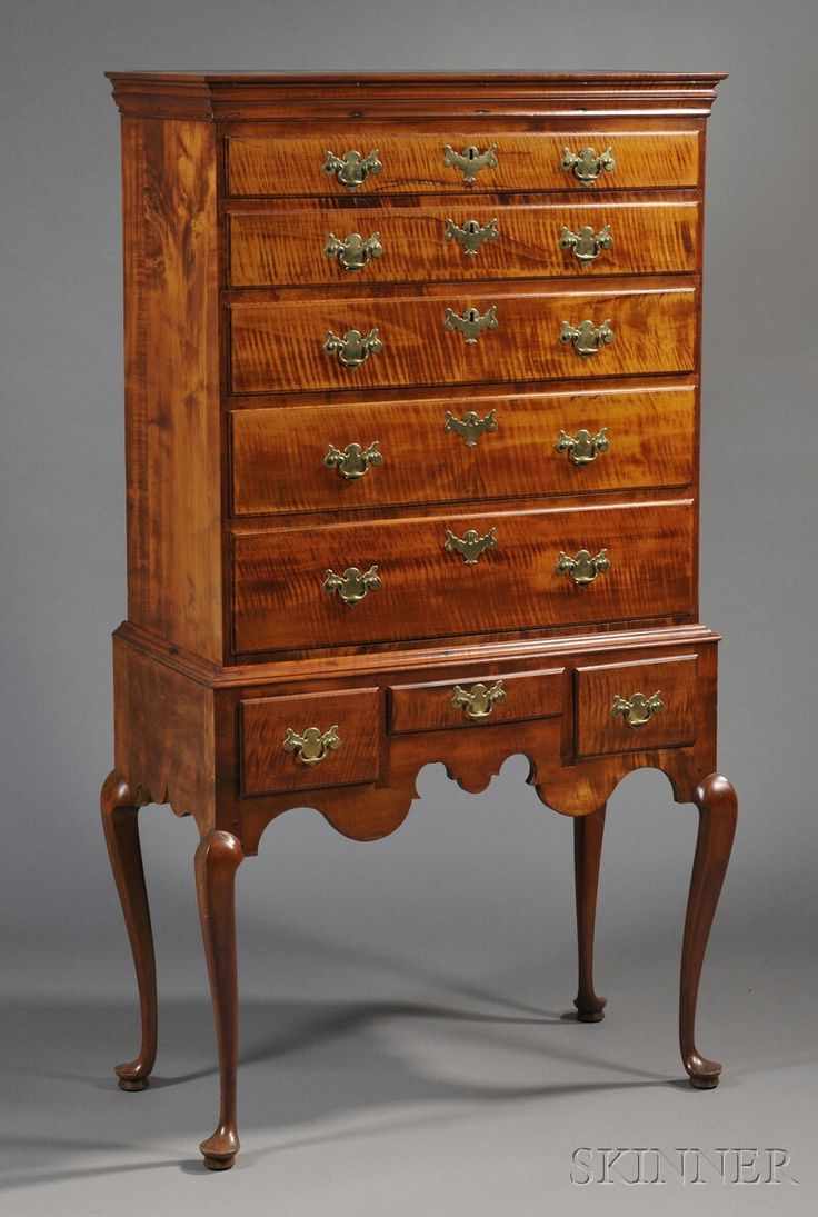 New England Queen Anne Tiger Maple High Chest Of Drawers Late 18th Century Brasses Appear