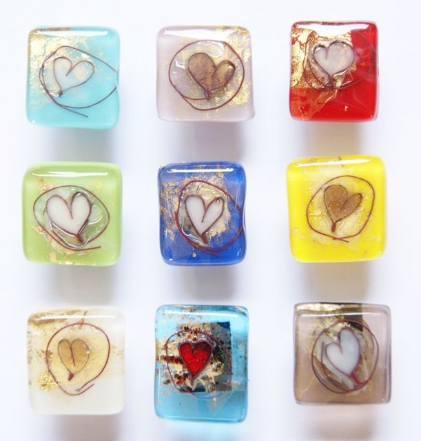 fused glass hearts | Fused glass heart and silver plated pin - Mc Gonigle Glass Studio