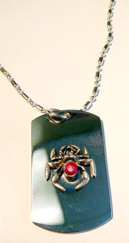 Black Widow Spider Red Crystal Emblem Logo Symbols - Military Dog Tag Luggage Tag Key Chain Metal Chain Necklace