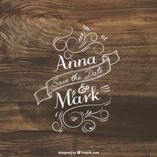 Convite rotulação do casamento na madeira Vetor grátis