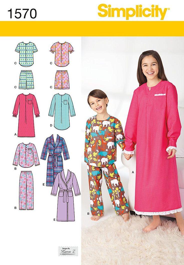 Simplicity Pattern 1570K5 7-8-10-12--Child Girl Sleepwear ...
