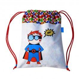 Mochila divertida para niño y niña hecha a mano en tela de algodón de la marca Micu Macu.