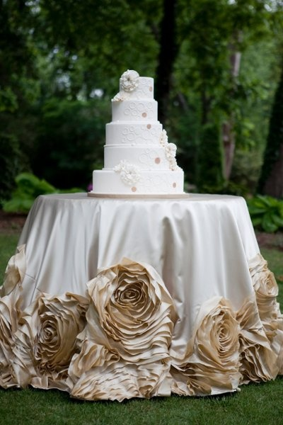 Cake Table Linen by I Do Linens. We love the rosettes!