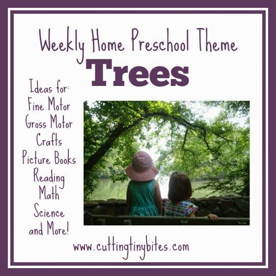 Weekly Home Preschool- Tree Theme.  Great ideas for crafts, snack, gross motor, fine motor, science, and more!  Plenty of ideas for one week of home preschool.