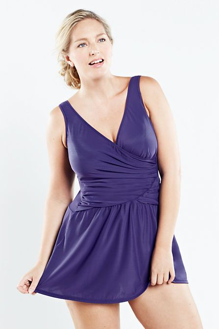 Women's Plus Size Slender Tulip Swimdress from Lands' End ...