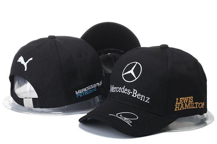 Mens / Womens Unisex Mercedes Benz x Puma AMG PETRONAS F1 LEWIS HAMILTON Baseball Adjustable CAP - Black / White