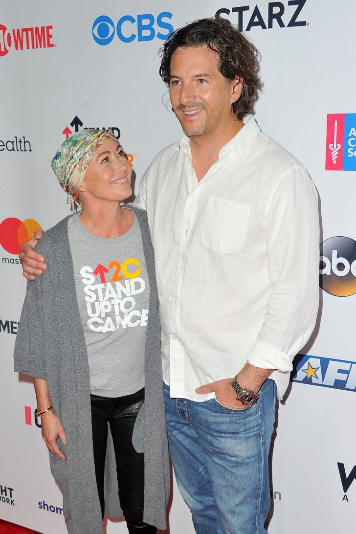 Bradley Cooper, Celine Dion, and More Stand Up to Cancer  Pictured: Shannen Doherty and Kurt Iswarienko