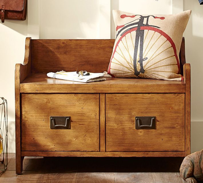 Furniture, DIY Wooden Bench Seat With Pillow And Drawer