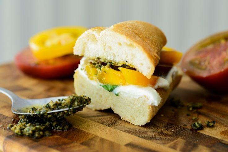 Tomato, Pesto and Ricotta Sandwiches