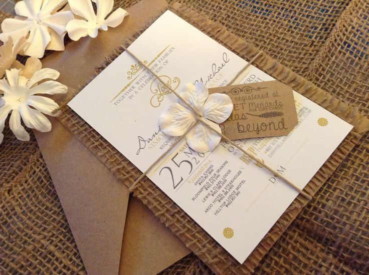 Hand Made Country Chic Burlap Wedding Invitation Set. $100.00, via Etsy. I think we could probably just get the main cards printed and do the rest ourselves?!