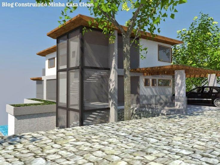 fachadas de casas em terrenos em declive como construir