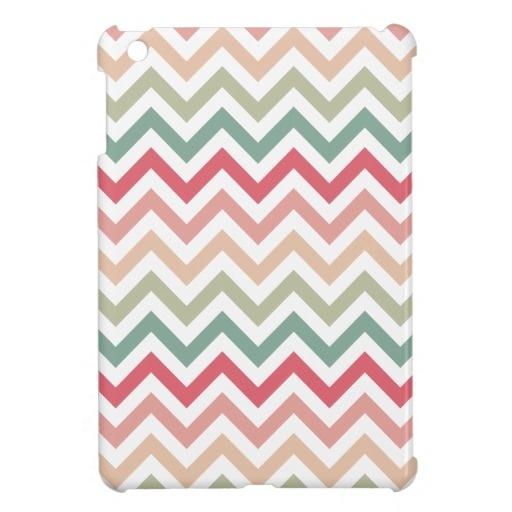 Aztec Pink Red Green Chevron Girly Pattern iPad Mini Cover