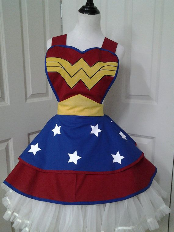 COUPON INSIDE: Female SuperHero Cosplay Retro Pin Up Apron on Etsy, £53.84