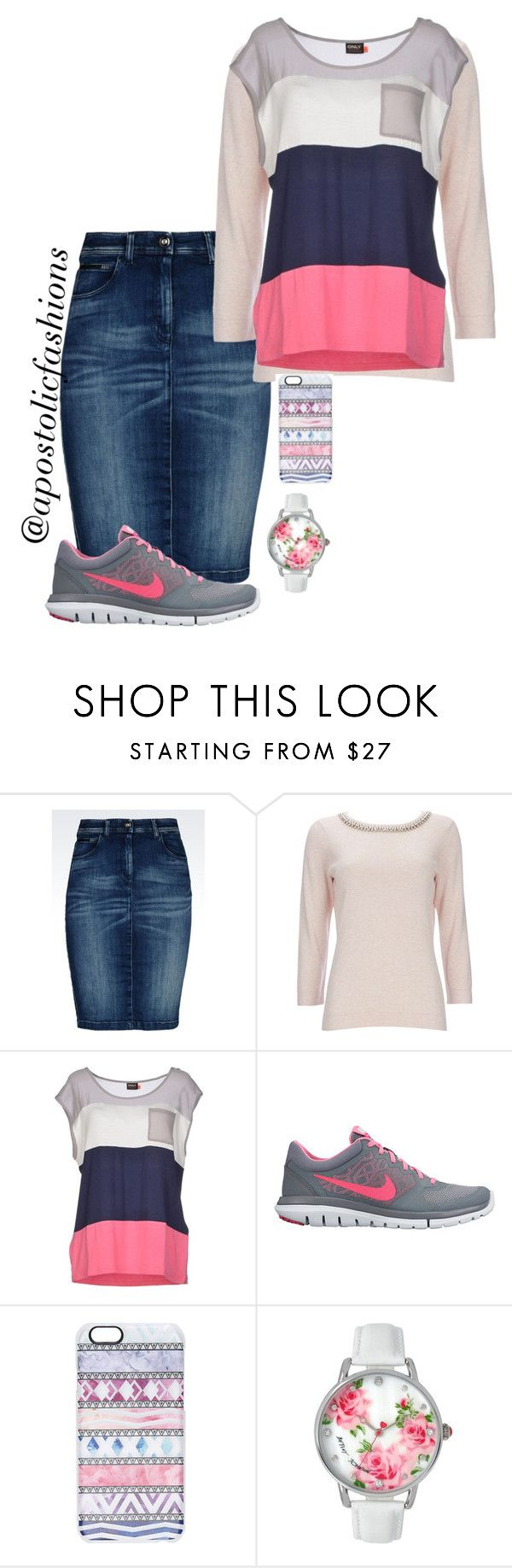 """""""Apostolic Fashions #1106"""" by apostolicfashions on Polyvore featuring Armani Jeans, Wallis, ONLY, NIKE, Casetify, Betsey Johnson, women's clothing, women, female and woman"""