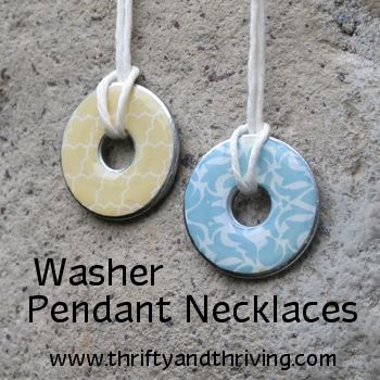 Washer pendant necklaces... Fun project for the girl.