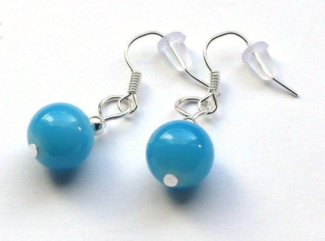 Niebieskie kolczyki ze szklanych kulek 10 mm w Especially for You! na http://pl.dawanda.com/shop/slicznieilirycznie  #kolczyki #earrings  #handmade #DaWanda