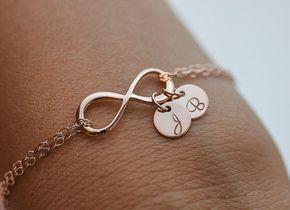 Personalisierte Infinity Armband. Initialen Roségold von dorocy