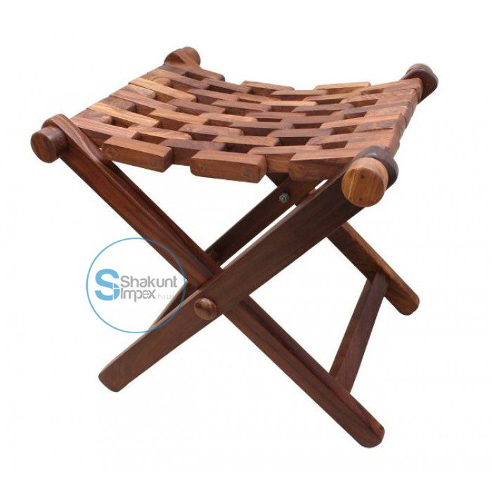 Hand carved solid wood foldable stool @shakuntimpex #shakuntimpex #handcarvedstool