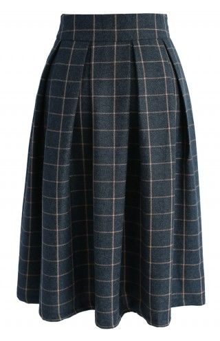 Swanky Grid A-line Midi Skirt - Retro, Indie and Unique Fashion