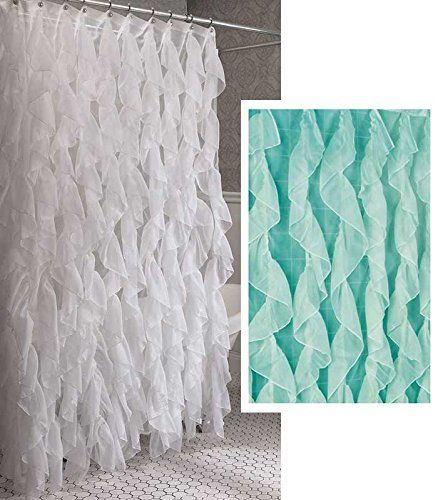 Cascade Shabby Chic Ruffled Sheer Shower Curtain Sea Home Bargains Plus