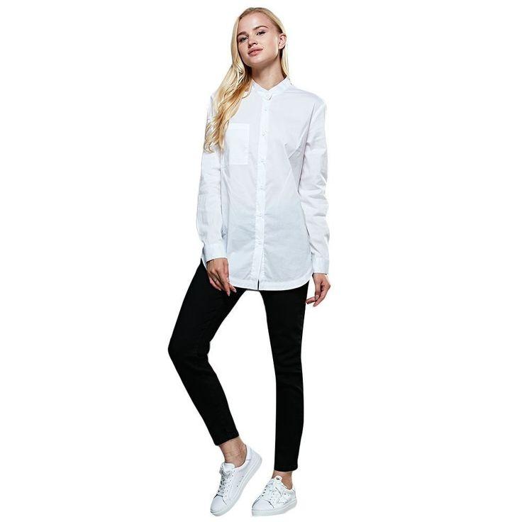 Fashion Women Ladies Long Sleeve Tops Shirt White Loose Casual Blouse